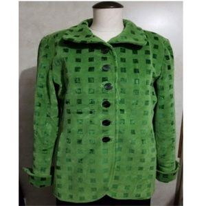 Quadrille Womens Green Velvet Blazer Jacket Coat